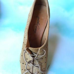 RACHEL COMEY Open Toe Suede Brown Heel Shoe